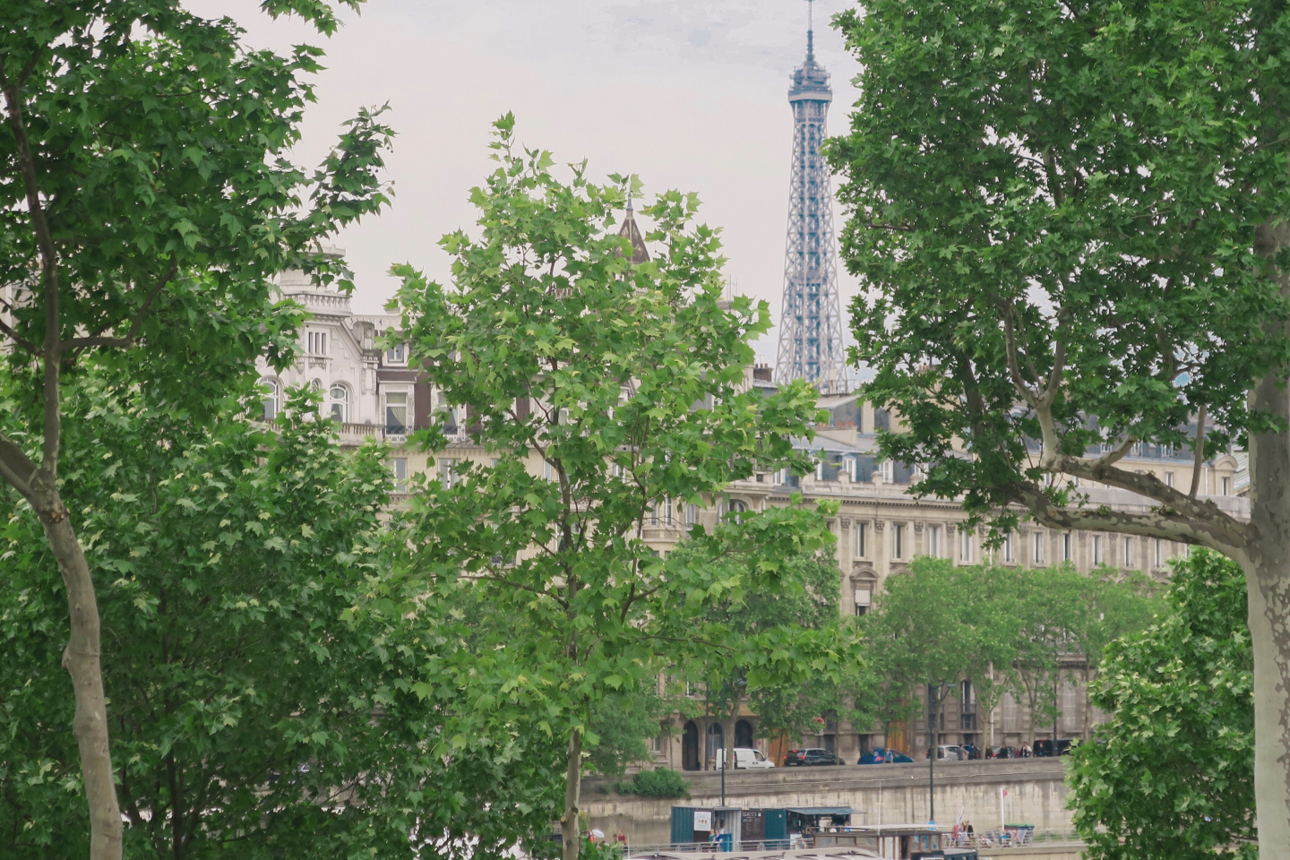 A view of the Eiffel Tower between two trees and across the River Seine A row of Parisian houses on Monmarte in day trip to Paris on a budget on francescasophia.co.uk