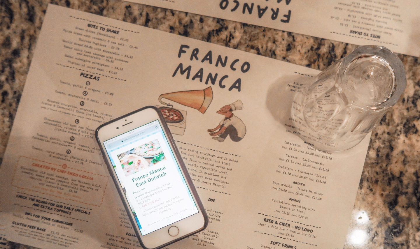 Franco Manca menu with a time out more digital card on francescasophia.co.uk
