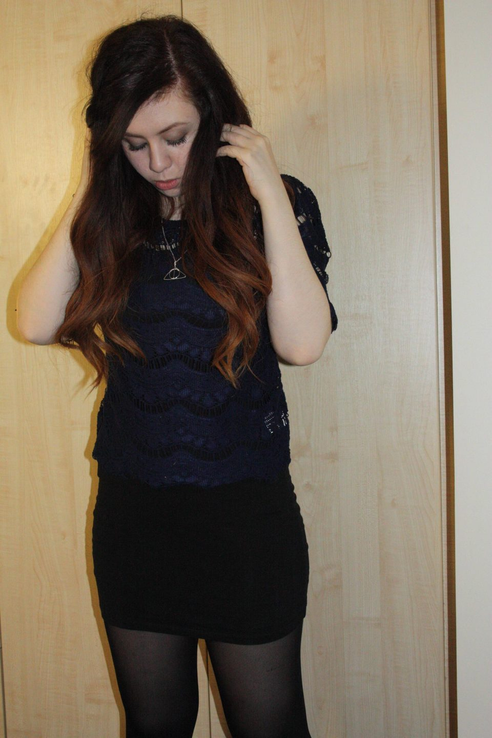 Navy blue lace top from Primark with black bodycon skirt from H&M outfit post worn by francesca from francescasophia.co.uk