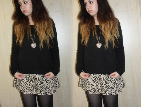 francesca from francescasophia.co.uk is a girl with ombre hair wearing a leopard print h&m dress with a black h&m baggy jumper and gold heart forever 21 necklace
