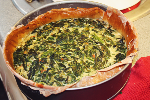 low calorie low fat spinach, red pepper, and filo quiche in a baking tin, just out of the oven