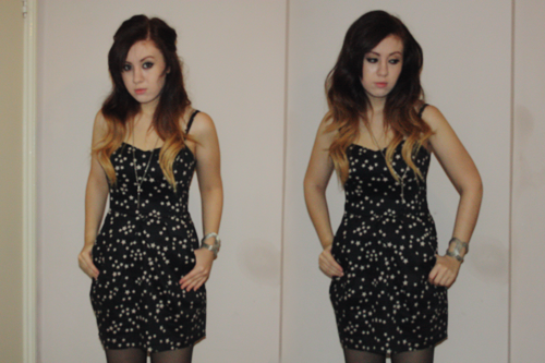 a girl with ombre hair in a star covered dress, with her hair up, next to the same girl wearing the same outfit, but with her hair down; francesca sophia