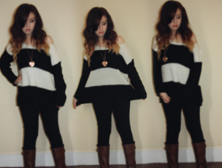 girl with ombre hair wearing a striped baggy jumper sweater from new look and black skinny jeans and brown boots - francesca from francescasophia.co.uk