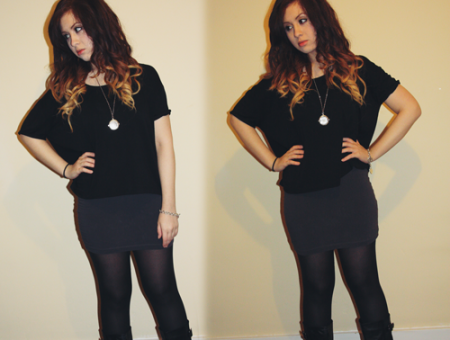 a girl with ombre hair, francesca sophia from francescasophia.co.uk, posing for an outfit, with a grey bodycon skirt and black oversized top