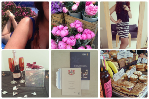 a selection of Instagram shots from francescasoph (francesca sophia); a girl lounging in the sun in a blue bikini, her red hair over one shoulder; a selection of vibrant pink peonies in wooden crates; francesca sophia wearing an aztec print skirt in black and white, with a black tank top; two flutes of champagne on a table next to a bottle of moet and a wrapped present; a psychology degree from the university of kent; a selection of cakes and pastries on display at a shop