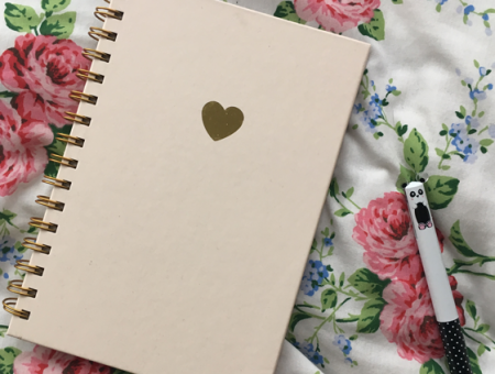 a pink notebook with a gold heart and gold spiral binding lying on a bed, next to a panda pen; the words 'getting a job in social media' written in script across the picture in pink and white