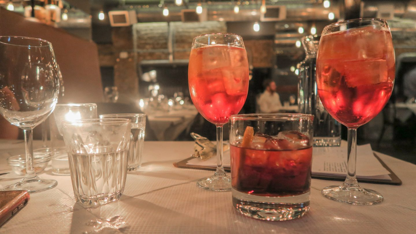 Aperol spritz and negroni at Trullo restaurant on francescasophia.co.uk