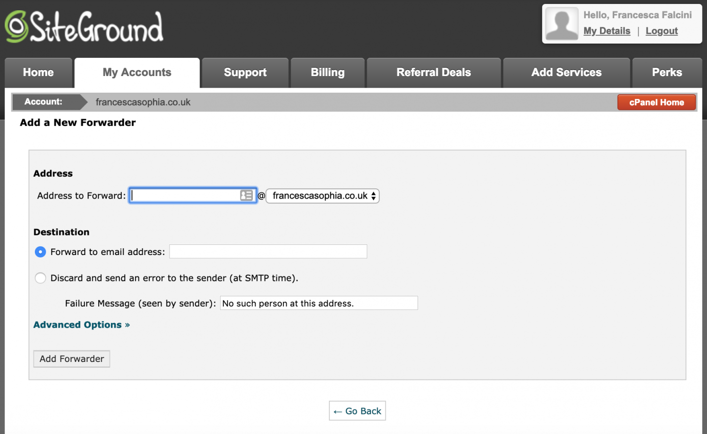 Forwarding options for emails on the SiteGround CPanel on francescasophia.co.uk